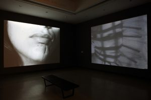Left: Corinne Bronfman TONGUE HAS BEEN SLICED DOWN THE MIDDLE. WHEN I TRIED TO KISS WITH IT, I KEPT SWALLOWING IT, 1975 Right: Rebecca Horn VIDEOTAPE N. 3, 1973