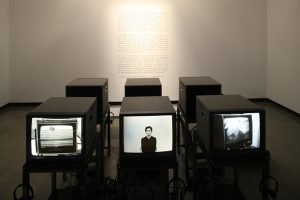 Left: Maurizio Nannucci THE MISSING POEM IS THE POEM, 1974 Middle: Gino De Dominicis VIDEOTAPE (ENGLISH VERSION), 1974 Right: Nina Sobell  INTERACTIVE ELECTROENCEPHALOGRAPHIC VIDEO DRAWINGS 1975